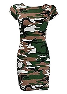 STYLE FASHION-Women Leopard Skull Rose Zebra Camouflage Print Cap Sleeve Bodycon Dress from