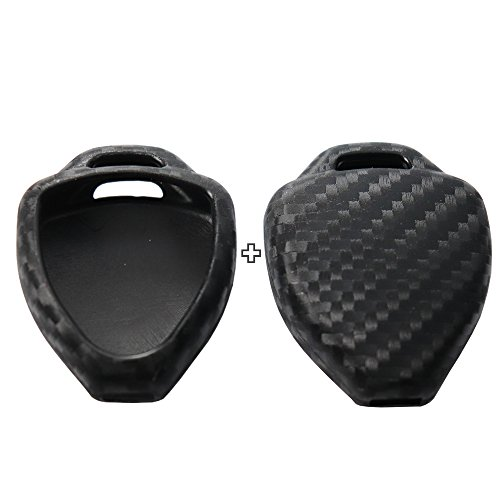 2Pack Silicone Carbon Fiber Pattern car Key case Cover Keychain for Smart Toyota Camry Highlander Prado Crown Land Cruiser Prius Vitz Accessories fob Shell Key Bag