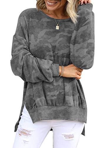CORAFRITZ - Sudadera de manga larga con estampado de camuflaje, para mujer
