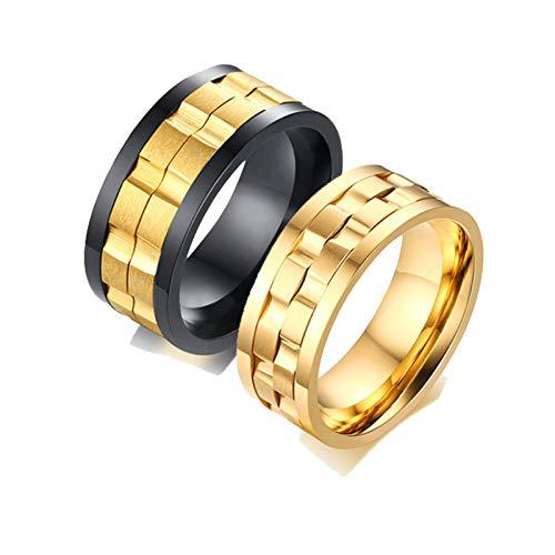 Aooaz 8MM Anillo De Acero Spinner Gear Ring 8MM Anillo Boda Mujeres 20 & Hombre 25 Negro Oro