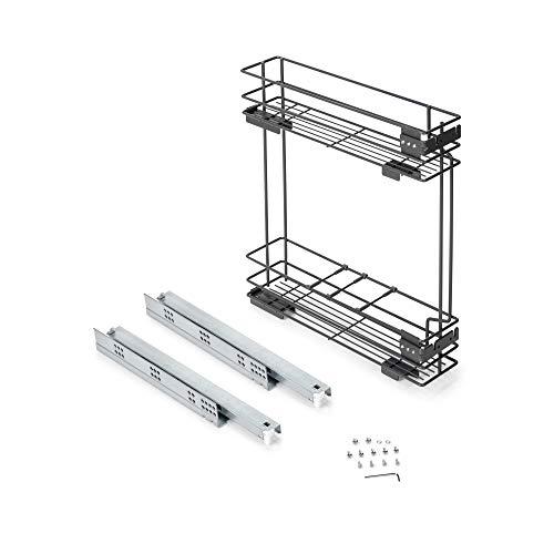 Emuca - Carrello portabottiglie Estraibile con Chiusura Soft per Mobile di Cucina 150mm, Acciaio Grigio Antracite