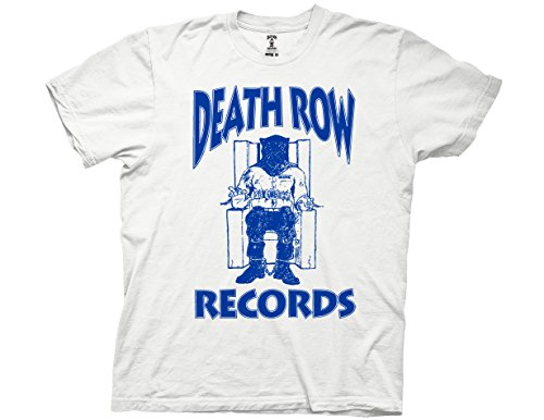 Ripple Junction Death Row Records Adult Unisex Blue Logo Light Weight 100% Cotton Crew T-Shirt XL White