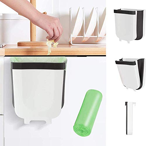 Kitchen Hanging Trash can for Kitchen Cabinet Door 9L/2.4 Gallon Collapsible Foldable Compact Garbage Bins Trash Holder with Trash Bags for Bedroom Office Portable Home & Outdoor Garbage Can (White)