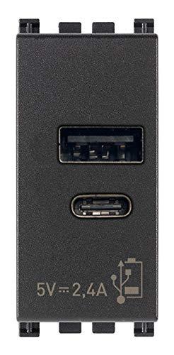 Vimar 19292.AC Arké USB-Steckdose 5 V 2,4 A, 1 USB-Ausgang Typ A und 1 Typ C, insgesamt 2,4 A zum gleichzeitigen Laden von zwei Geräten