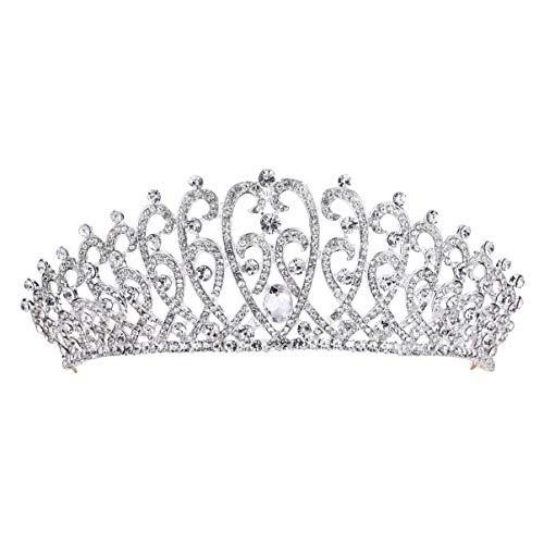 Minkissy Prom Queen Krone, Kristall Diadem Hochzeit Kronprinzessin Krone Festzug Kronen Tiara für Frauen und Mädchen (silber)
