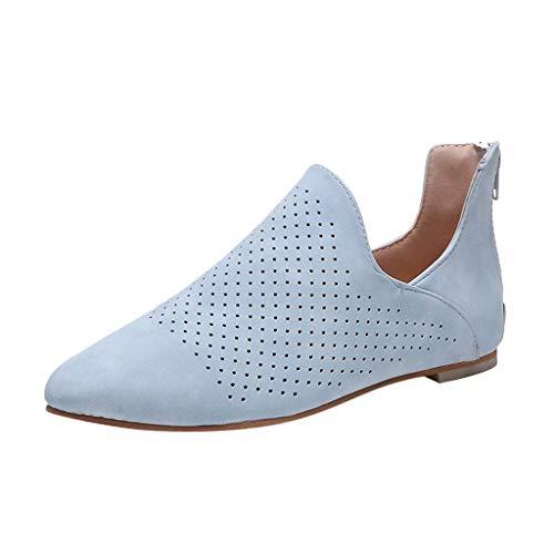 BASACA Sandalen Damen Frauen Mädchen Strand Sommer Zehe Flach Aushöhlen Römische Einzelne Schuhe Frau Slipper Mode 2019 (41 EU, Blau)