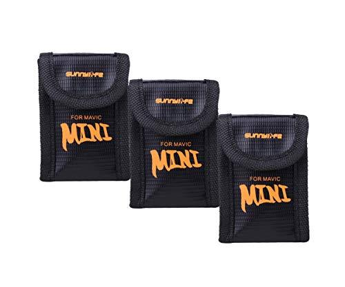 Tineer Nylon Lipo Battery Safe Bag para dji Mavic Mini Accesorio - Bolsa de Almacenamiento de protección de batería Bolsa a Prueba de explosiones (3PCS Small)