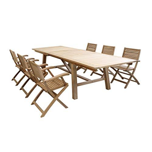 Set Tavolo e sedie da Giardino per Esterno in Legno Resistente di Teak cm 160/240 x 90 x 77 h con 6 sedute