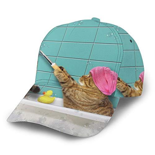 Baseballkappe Baden Katze Schaumbad in Badewanne Selfies Lustiges Kätzchen Unisex 3D Druck Snapback Caps Verstellbare Hut Trucker Hüte Schwarz