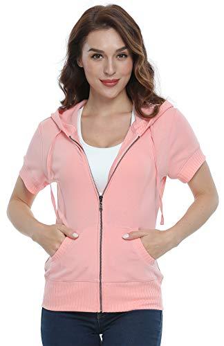 MISS MOLY Damen Kurzarm Kapuzenpullover Sweatjacke Hoodie Sweatshirt mit Reissverschluss Rosa Small