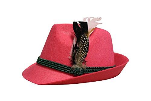 Edelnice Trachtenmode Edelnice Trachtenmode Trachten Filzhut mit echter Feder, Farbe pink