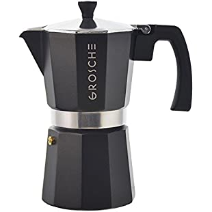 GROSCHE Milano Moka Stovetop Espresso Coffee Maker (6 Cup/275 ml, Black)