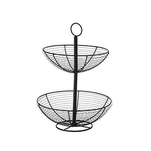 Frutero con 2 cestas redondo negro industrial de metal de ø 29x41 cm - LOLAhome