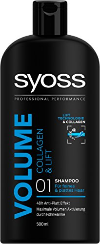 syoss Volume Collagen & lift femmes shampooing ML – champues (femmes, shampooing, CHEVEUX fin, CHEVEUX Normal, 500 ML, Boost Volume, 48 H)