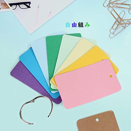 単語帳単語カード暗記カード暗記帳大きめサイズ8色9X5.5cm8冊X50枚メモクリップメモホルダー2個付き(単語帳&メモクリップ2点セット)