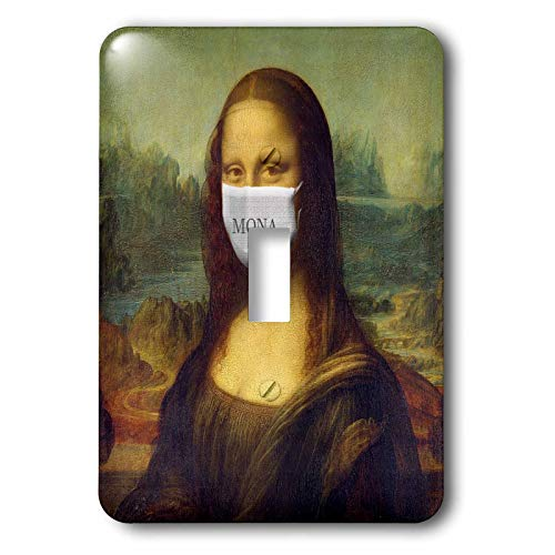 3dRose Mona Lisa Wearing Face Mask Image, Coronavirus, 3DRAMM - Light Switch Covers (lsp_335570_1)