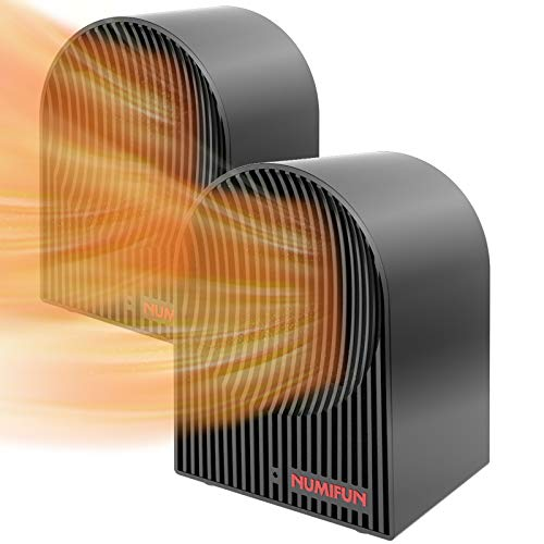 Space Heater 2 Pack Small Space Heater for Indoor Use Personal Mini Ceramic Heater Energy Efficient Space Saving Portable Heater with Thermostat Quiet Office Under Desk Bedroom ETL Approved, 500W