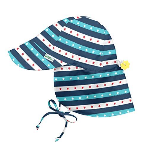 i play. by green sprouts Chapéu com aba para bebês meninos   Proteção solar FPS 50+ para cabeça, pescoço e olhos o dia todo, Estrela azul marinho listrada, 2-4T