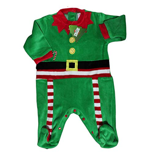 Russo Tessuti Tutina Intero Neonato Elfo di Babbo Natale Baby Ciniglia Rosso Pagliaccetto-3-6 Mesi