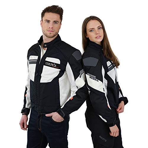 Nerve Shop Motorrad Protektorenjacke -Greenland- Leichte Dünne Motorradjacke Sommer Sommerjacke Herren Damen Kurz Luftdurchlässig - Schwarz-Weiß - XL