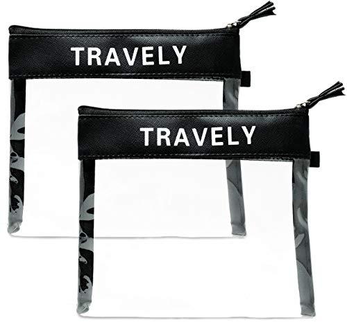 Travely® Premium Kulturbeutel - Ideal als Handgepäck im Flugzeug - 1L große Kosmetiktasche - [2er Set] - Transparent