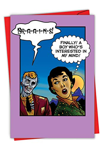 NobleWorks, Happy Valentine's Day Card with Envelope - Note Card for Loving Valentine - Zombie Brains 7369