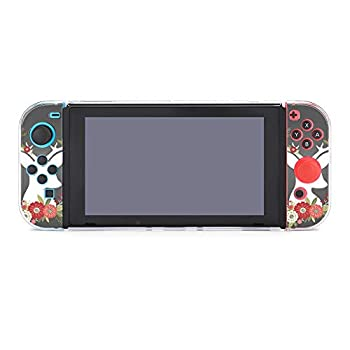 Case for Nintendo Switch Christmas Deer Antlers with Flowers Five-Pieces Set Protective Cover Case Compatible with Nintendo Switch Game Console