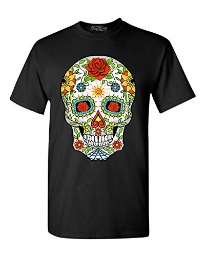 shop4ever Day of The Dead Skull with Red Roses T-Shirt XX-Large Black 0