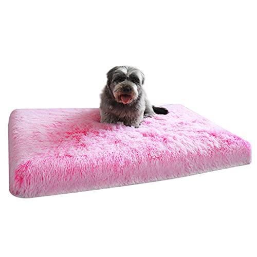 Waigg Kii Colchón de espuma viscoelástica para perro, cama grande ortopédica y calmante, suave y esponjoso, cojín de dormir de piel sintética para perros pequeños, medianos y grandes (S, rosa)