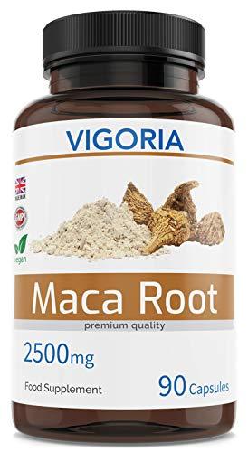 Maca Andina - Aumenta la energía, resistencia, memoria - Más vitalidad para hombres y mujeres - 2500 mg 90 cápsulas - Extracto natural 10:1 de polvo de pura raíz peruana - Vegano - Sin OGM ni aditivos