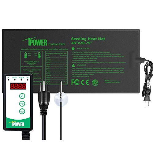 "iPower GLHTMTCTRLV2PROL 48"" x 20.75"" Upgraded Carbon Film Seedling Heat Mat and Digital Thermostat Controller Combo Set for Seed Germination Plant Propagation, Black"