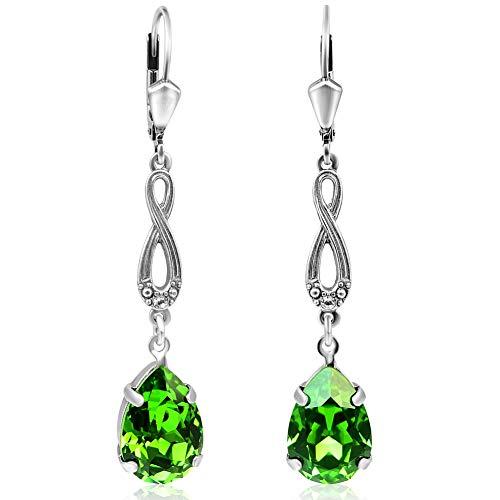 Jugendstil Ohrringe Silber Grün mit Kristallen von Swarovski® NOBEL SCHMUCK