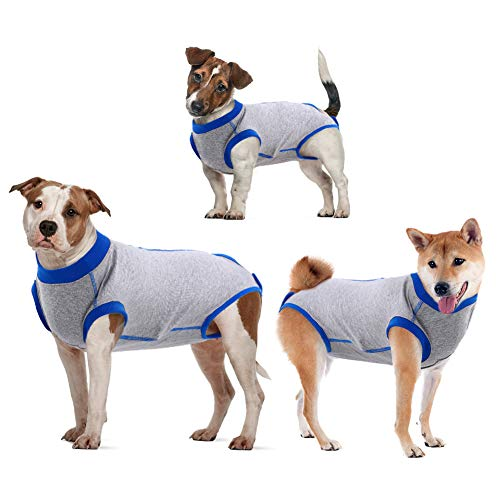 IDOMIK Recovery Suit for Dogs After Surgery, Recovery Shirt for Male Female Dog Cats, Cone E-Collar Alternative Abdominal Wounds Spay Bandages Onesie, Anti-Licking Pet Surgical Recovery Snuggly Suit