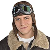 Flying Helmet Aviator Hat With Goggles Fancy Dress Costume Accessory