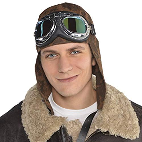 AMSCAN Aviator Hat and Goggles Halloween Costume Accessories for Adults, One Size