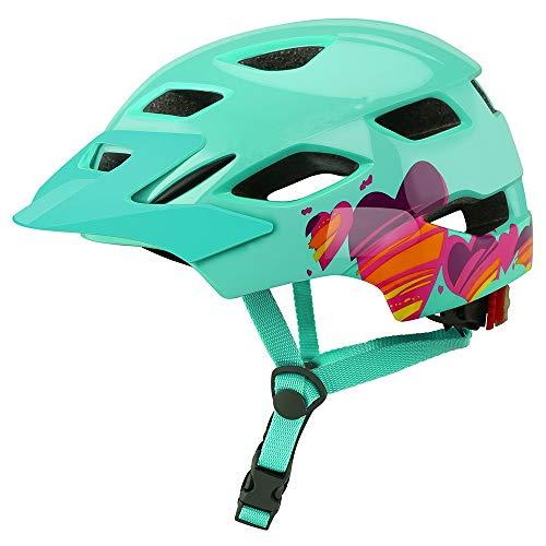 RongWang Kinder-Fahrradhelm mit Rücklicht, für Kinder, Skaten, Reiten, Sicherheitshelm, Laufrad, Schutzhelm (Farbe: grün)