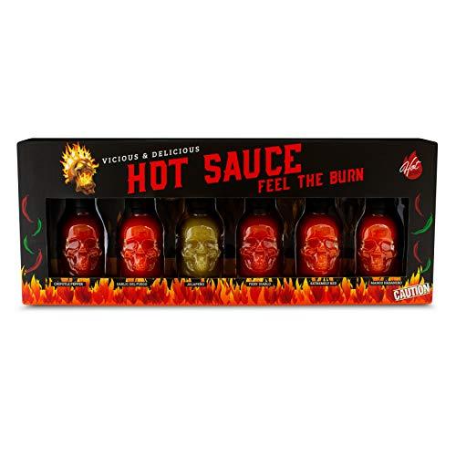 Modern Gourmet Foods - Hot Sauce Geschenk-Set - Probier-Set mit 6 scharfen Chili-Saucen in kleinen Totenkopf-Flaschen - 6 x 45 ml