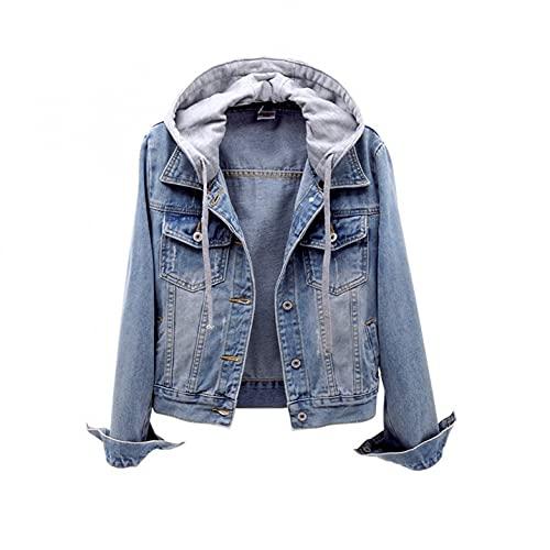 Generic Damen Jeansjacke Kurz Hellblau Slim Fit Leichte Sommerjacke Übergangsjacke Boyfriend Outdoor Vintage Jacke Outwear Herbst und Winter Coat Tops