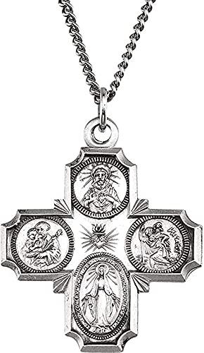 LKLFC Collar para Mujer Collar para Hombre Colgante Collar con Medalla Cruzada cuádruple en Plata de Ley Colgante Collar Regalo para niñas Niños