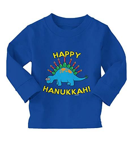 Haase Unlimited Happy Hanukkah - Dinosaur Menorah Long Sleeve Toddler Cotton Jersey Shirt (Royal Blue, 3T)