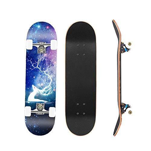 Monopatin Skateboard Principiantes 31'x 8' Pro Standard Skate Board Cruiser, 7 Capas Maple Deck Double Kick Monopatin Longboard para Adulto Niños Niño Chica Niia (Color : Style B)