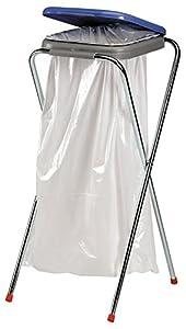 axentia Soporte para Bolsas de Basura de Metal con Tapa de Plástico, aprox. 36 x 42 x 78 cm, Azul, Amarillo, Verde o Naranja, 116940