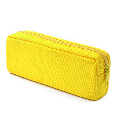 Pencil Pen Case, Dobmit Big Capacity Pencil Pouch Makeup Bag for Girls and Boys Durable Office Stationery Organizer - Yellow