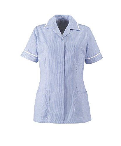 Alexandra STC-ST313BL-144 Dames Streep Tuniek, 67% Polyester/33% Katoen, Wit Sierlijst, Maat: 144 cm, Borst: 34, Blauw/Wit