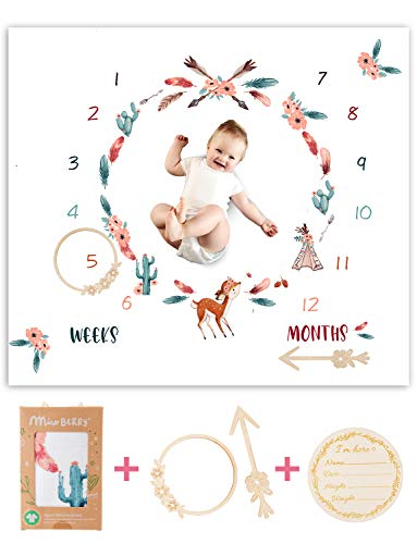 Organic Baby Monthly Milestone Blanket Newborn Boho Deer Girl  Fawn Cactus Teepee Tribe Baby Nursery Month Picture Blanket  Growth Photography Background Prop  Woodland Friends Animals