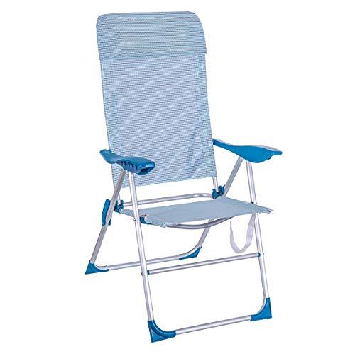 LOLAhome Sillón 5 Posiciones Plegable de Aluminio para Playa y Camping (Azul y Blanco)
