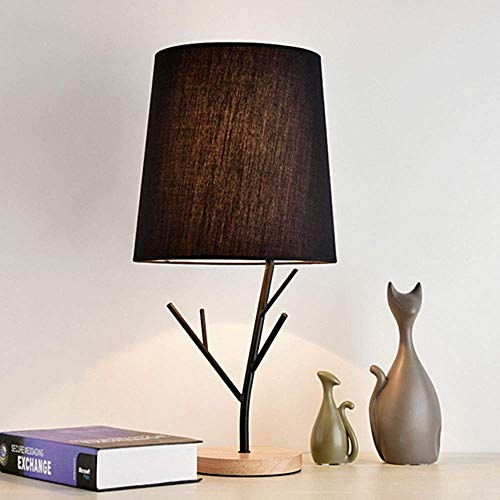 FURNITURE Lámpara de Mesa Personalidad Creativa Lámpara de Pie de Madera Lámparas Led Dormitorio Lámpara de Mesa de Noche Moda Exquisita/Negro