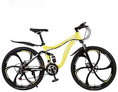 HongLianRiven BMX 26 Pollici Bici di Montagna della Bicicletta ad Alta Acciaio al Carbonio MTB Telaio Bici Full Suspension Alluminio Lega Doppio Freno a Disco 5-25 (Color : D, Size : 27 Speed)