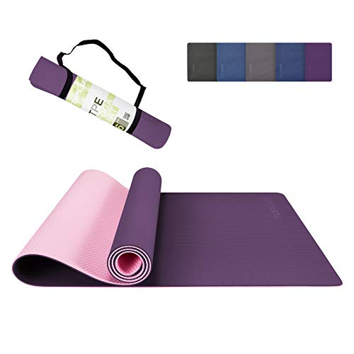 TOPLUS Yoga Mat - Upgraded Thick Yoga Mat Eco Friendly Non-Slip Exercise & Fitness Mat with Carrying Strap, Workout Mat for All Type of Yoga, Pilates(1/4 inch-1/8 inch)