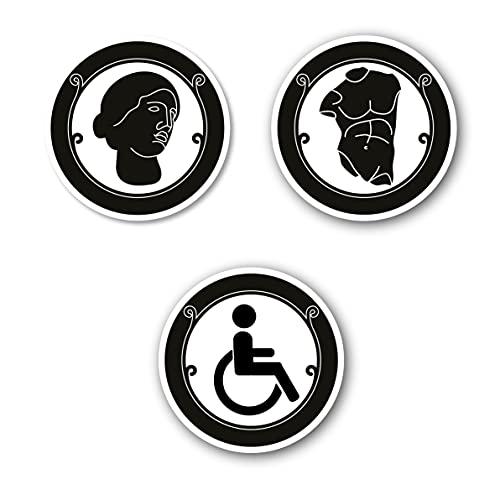 Simbolo Uomo Donna Disabili WC Bagno Toilette porta Omini segnale Targa Porta Targhetta Adesiva Segnaletica